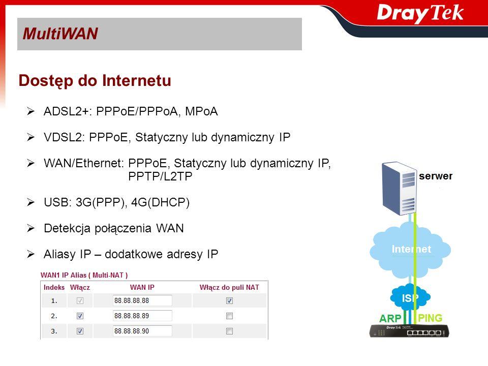MultiWAN WAN Load balance / WAN Backup WAN Load balance: - kierowanie ruchu z sieci lokalnej do Internetu poprzez aktywne łącza WAN - maksymalna prędkość transmisji sesji uzależniona od użytego interfejsu WAN WAN Backup – łącze zapasowe na wypadek uszkodzenia jednego lub dwóch łączy WAN Zastosowanie: -WAN1 oraz WAN2: Load balance - WAN3: Backup