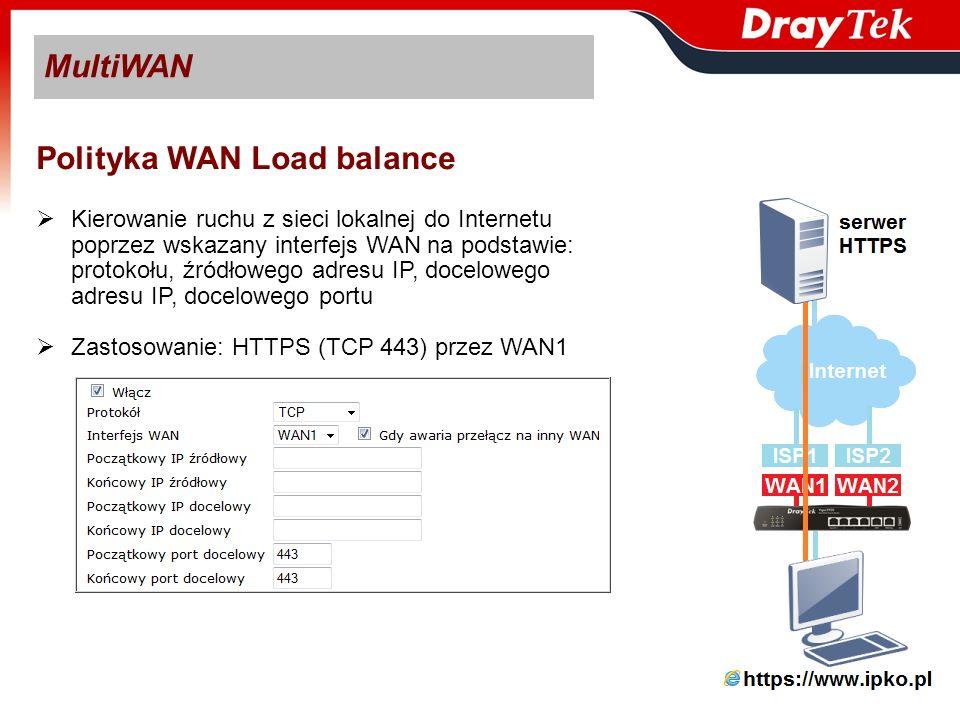 VPN VPN TRUNK – Backup VPN Backup – zapasowy tunel na wypadek uszkodzenia głównego tunelu Klient VPN musi wspierać VPN Backup Serwer VPN nie musi wspierać VPN Backup Zastosowanie: - Klient VPN posiada dwa łącza WAN - Serwer VPN posiada dwa łącza WAN