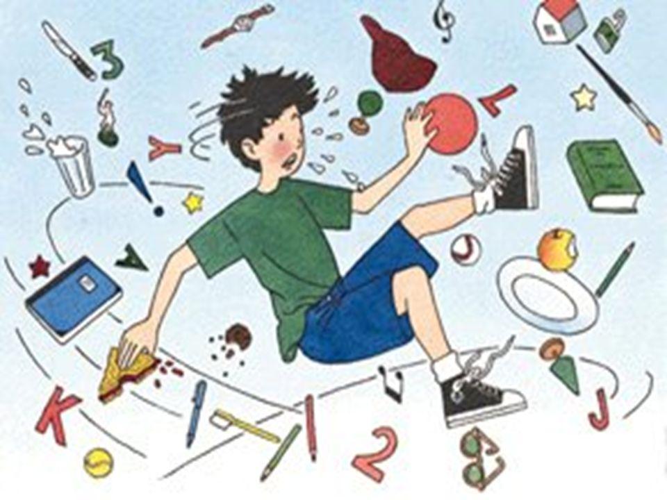 trudności wizualno–motoryczne, trudności syntetyzowania w myśleniu, brak umiejętności planowania, u wielu dzieci z zaburzeniami koncentracji uwagi występują pewnego rodzaju zaburzenia mowy lub języka, do których należą : opóźnienie rozwoju mowy, kłopoty z artykulacją, problemy ze struktura zdania, nieprawidłowe układanie dźwięków, Trudności stanowi również pisemne wyrażanie myśli i słuchowa