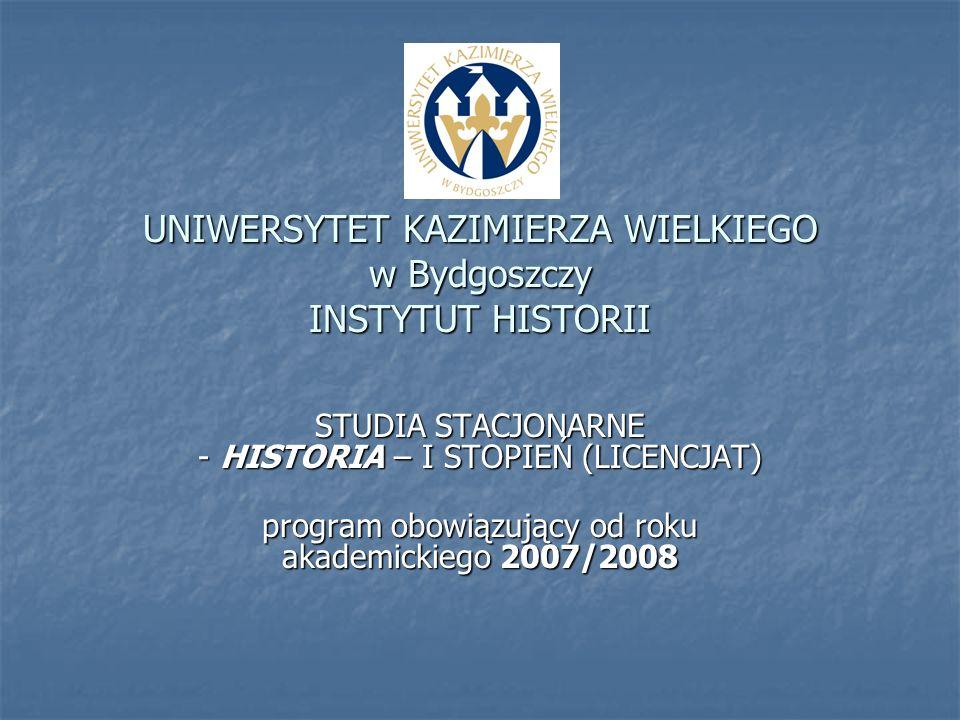 UNIWERSYTET KAZIMIERZA WIELKIEGO w Bydgoszczy INSTYTUT HISTORII STUDIA STACJONARNE - HISTORIA – I STOPIEŃ (LICENCJAT) program obowiązujący od roku aka