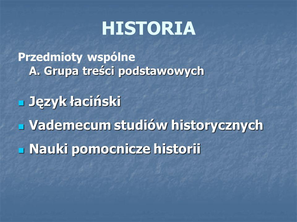 HISTORIA A. Grupa treści podstawowych Przedmioty wspólne A. Grupa treści podstawowych Język łaciński Język łaciński Vademecum studiów historycznych Va