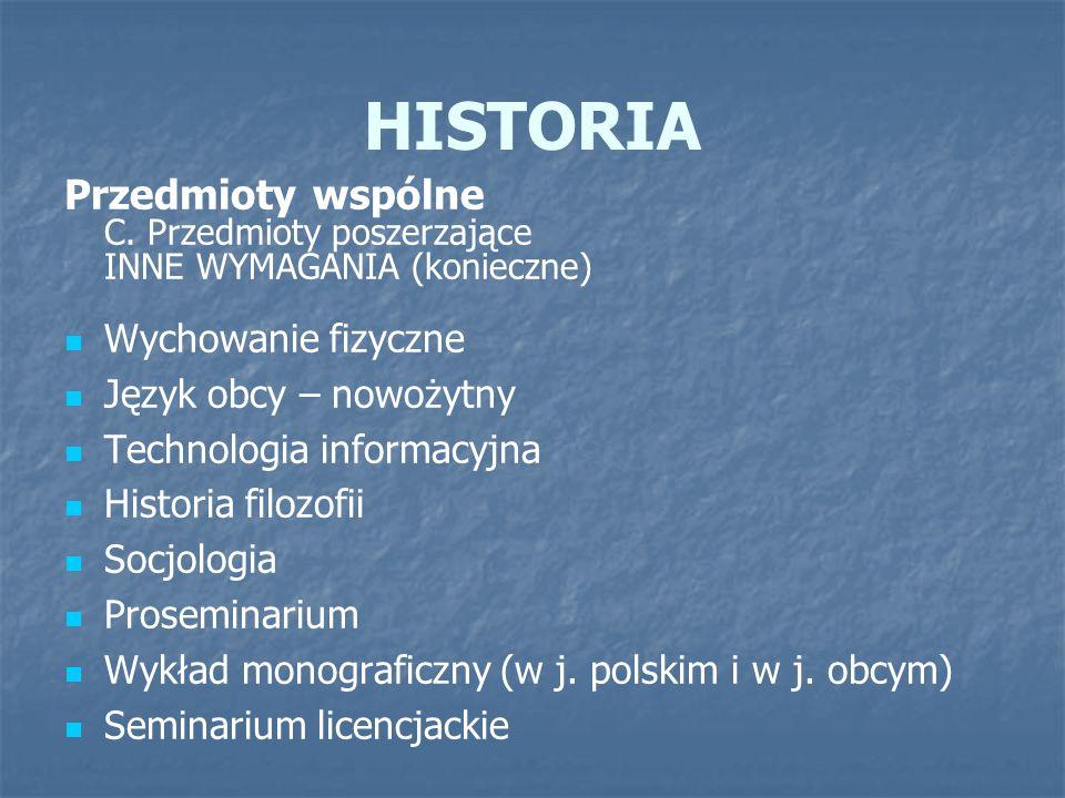 HISTORIA Przedmioty wspólne C. Przedmioty poszerzające INNE WYMAGANIA (konieczne) Wychowanie fizyczne Język obcy – nowożytny Technologia informacyjna