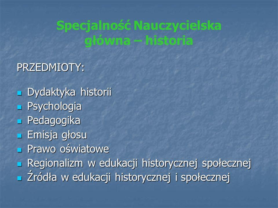 Specjalność Nauczycielska główna – historia PRZEDMIOTY: Dydaktyka historii Dydaktyka historii Psychologia Psychologia Pedagogika Pedagogika Emisja gło