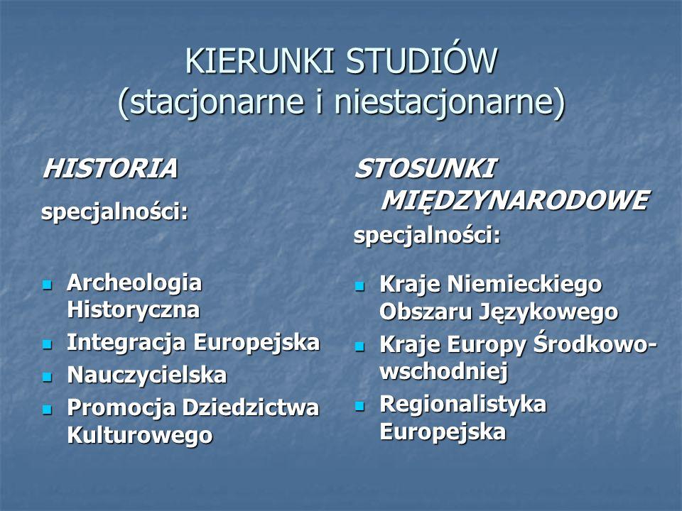KIERUNKI STUDIÓW (stacjonarne i niestacjonarne) HISTORIAspecjalności: Archeologia Historyczna Archeologia Historyczna Integracja Europejska Integracja