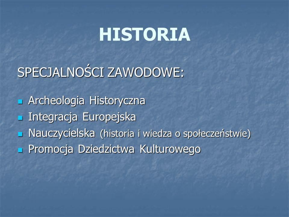 HISTORIA SPECJALNOŚCI ZAWODOWE: Archeologia Historyczna Archeologia Historyczna Integracja Europejska Integracja Europejska Nauczycielska (historia i
