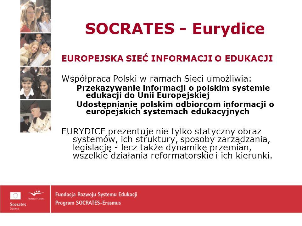 EUROPEJSKA SIEĆ INFORMACJI O EDUKACJI Współpraca Polski w ramach Sieci umożliwia: Przekazywanie informacji o polskim systemie edukacji do Unii Europejskiej Udostępnianie polskim odbiorcom informacji o europejskich systemach edukacyjnych EURYDICE prezentuje nie tylko statyczny obraz systemów, ich struktury, sposoby zarządzania, legislację - lecz także dynamikę przemian, wszelkie działania reformatorskie i ich kierunki.