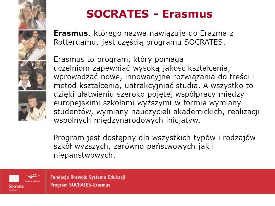 Erasmus, którego nazwa nawiązuje do Erazma z Rotterdamu, jest częścią programu SOCRATES.