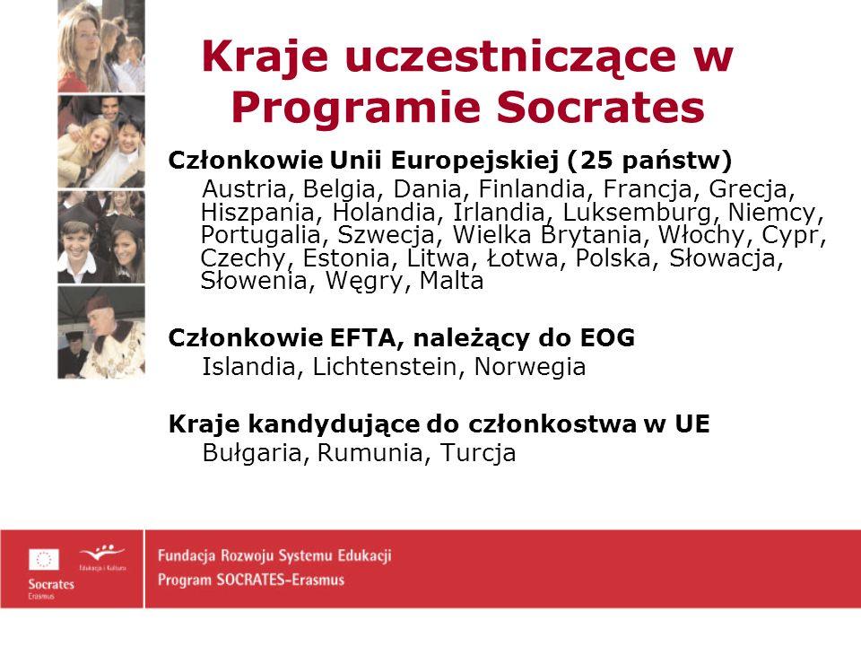 Kraje uczestniczące w Programie Socrates Członkowie Unii Europejskiej (25 państw) Austria, Belgia, Dania, Finlandia, Francja, Grecja, Hiszpania, Holandia, Irlandia, Luksemburg, Niemcy, Portugalia, Szwecja, Wielka Brytania, Włochy, Cypr, Czechy, Estonia, Litwa, Łotwa, Polska, Słowacja, Słowenia, Węgry, Malta Członkowie EFTA, należący do EOG Islandia, Lichtenstein, Norwegia Kraje kandydujące do członkostwa w UE Bułgaria, Rumunia, Turcja