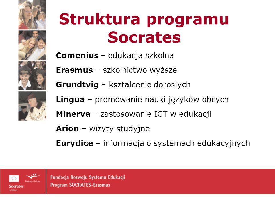 Struktura programu Socrates Comenius – edukacja szkolna Erasmus – szkolnictwo wyższe Grundtvig – kształcenie dorosłych Lingua – promowanie nauki języków obcych Minerva – zastosowanie ICT w edukacji Arion – wizyty studyjne Eurydice – informacja o systemach edukacyjnych