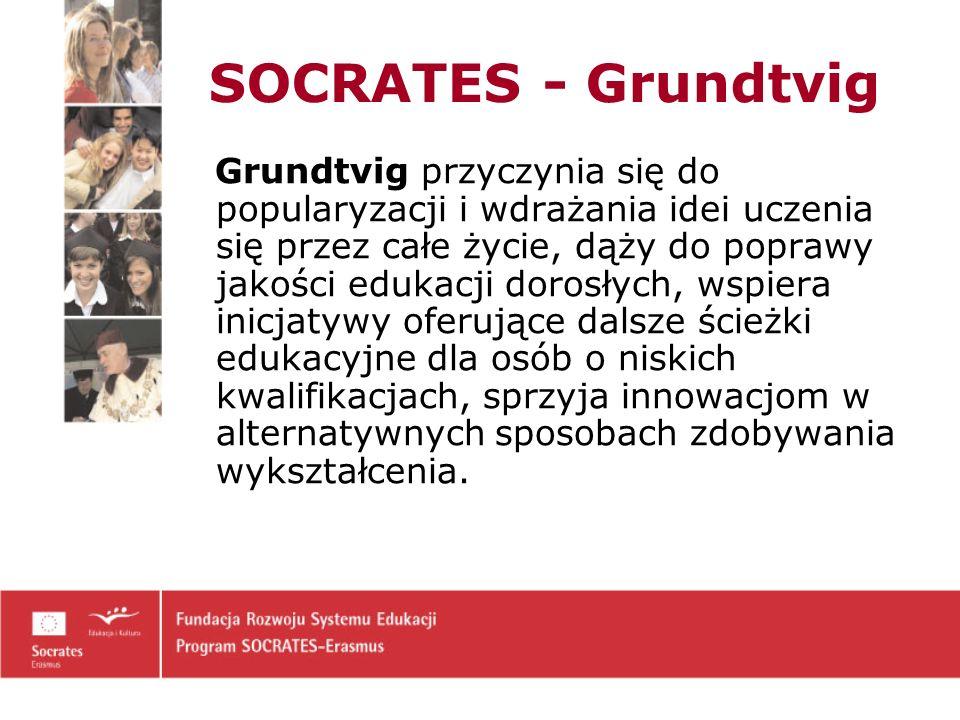 SOCRATES - Grundtvig Grundtvig przyczynia się do popularyzacji i wdrażania idei uczenia się przez całe życie, dąży do poprawy jakości edukacji dorosłych, wspiera inicjatywy oferujące dalsze ścieżki edukacyjne dla osób o niskich kwalifikacjach, sprzyja innowacjom w alternatywnych sposobach zdobywania wykształcenia.
