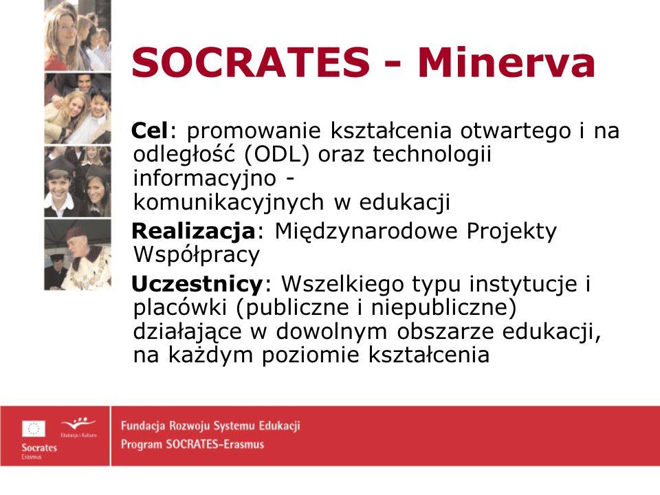 SOCRATES - Minerva Cel: promowanie kształcenia otwartego i na odległość (ODL) oraz technologii informacyjno - komunikacyjnych w edukacji Realizacja: Międzynarodowe Projekty Współpracy Uczestnicy: Wszelkiego typu instytucje i placówki (publiczne i niepubliczne) działające w dowolnym obszarze edukacji, na każdym poziomie kształcenia