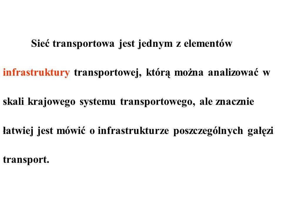 Sieć transportowa jest jednym z elementów infrastruktury transportowej, którą można analizować w skali krajowego systemu transportowego, ale znacznie