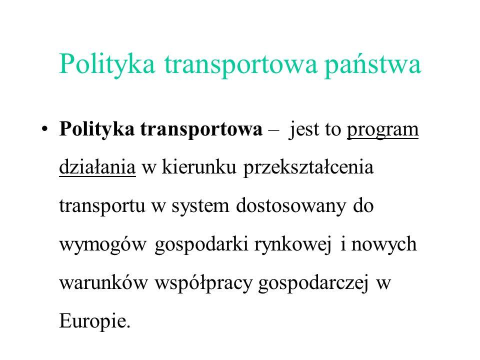 Polityka transportowa państwa Polityka transportowa – jest to program działania w kierunku przekształcenia transportu w system dostosowany do wymogów