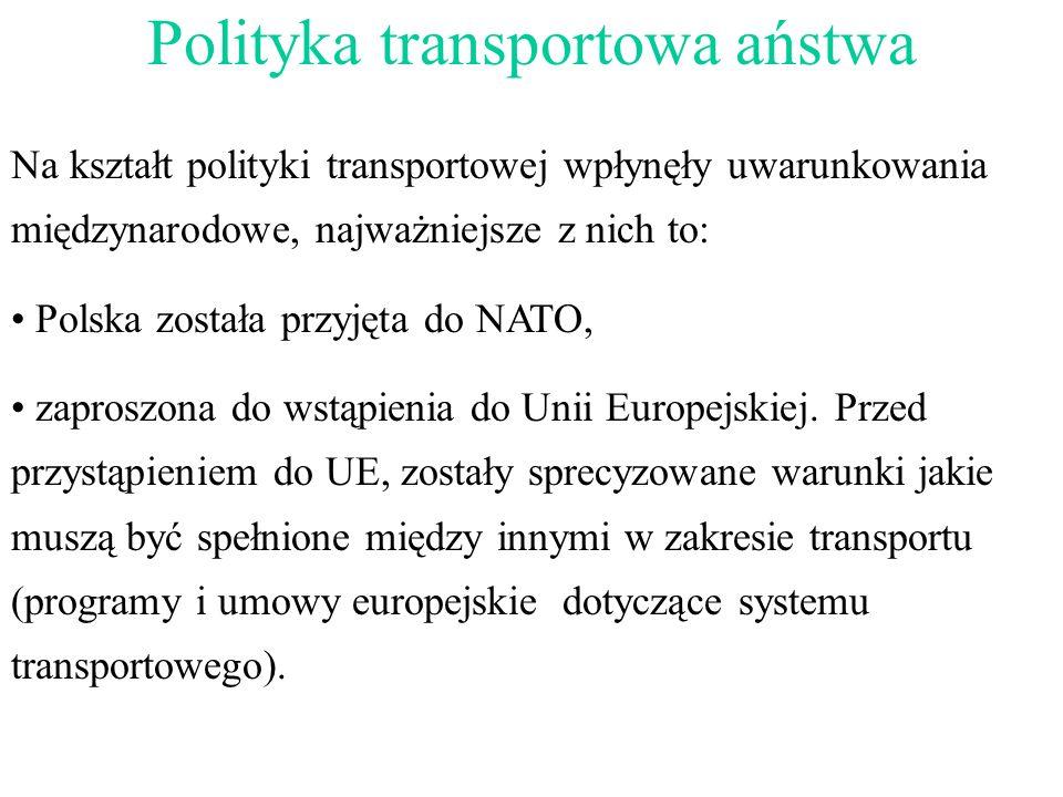 Na kształt polityki transportowej wpłynęły uwarunkowania międzynarodowe, najważniejsze z nich to: Polska została przyjęta do NATO, zaproszona do wstąp