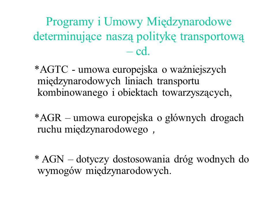 Programy i Umowy Międzynarodowe determinujące naszą politykę transportową – cd. *AGR – umowa europejska o głównych drogach ruchu międzynarodowego, * A