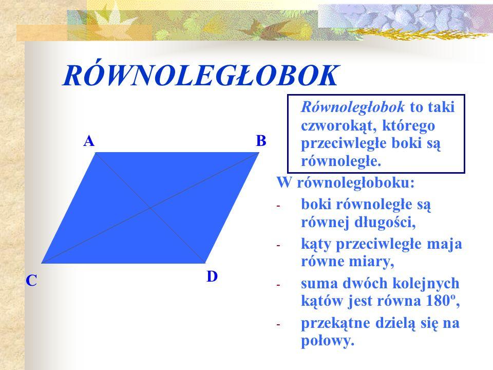 KWADRAT Kwadrat jest prostokątem, którego wszystkie boki są równe. W kwadracie: - przekątne są prostopadłe, - przekątne dzielą kąty wewnętrzne na poło