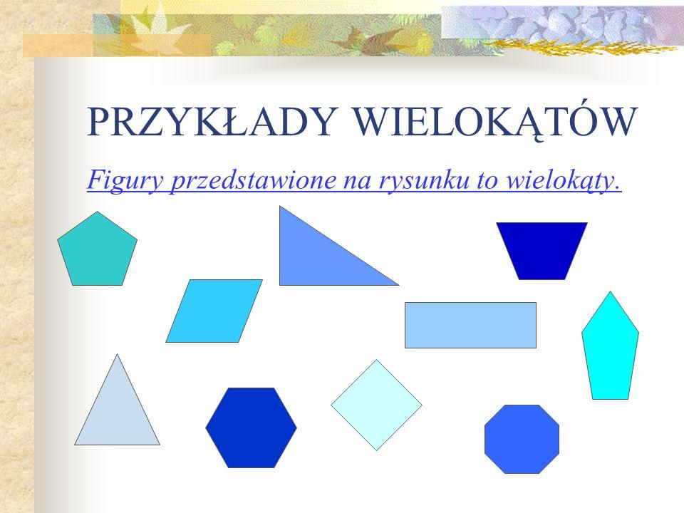 PRZYKŁADY WIELOKĄTÓW Figury przedstawione na rysunku to wielokąty.