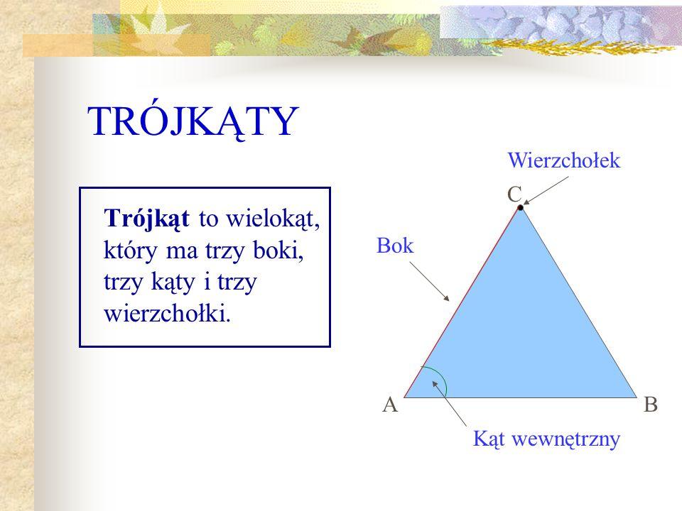 TRÓJKĄTY Trójkąt to wielokąt, który ma trzy boki, trzy kąty i trzy wierzchołki.