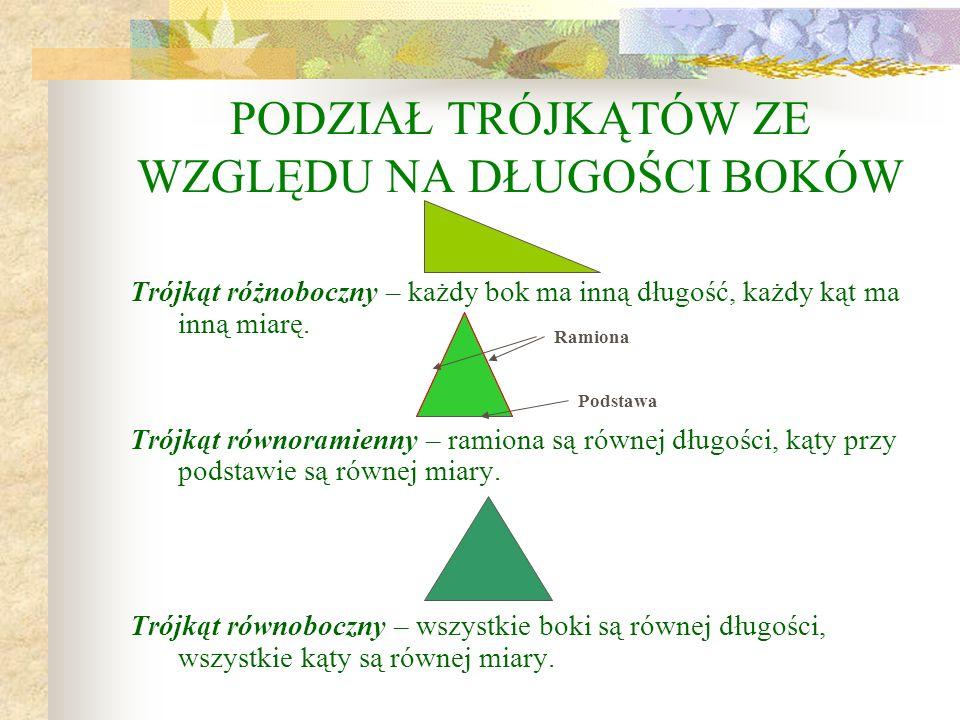 TRÓJKĄTY Trójkąt to wielokąt, który ma trzy boki, trzy kąty i trzy wierzchołki. Bok Wierzchołek Kąt wewnętrzny AB C