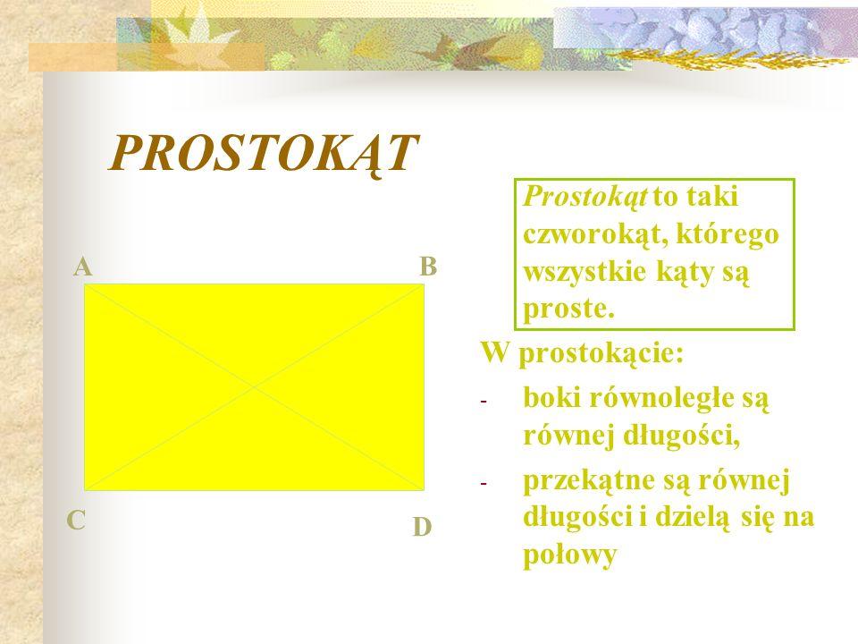 PROSTOKĄT Prostokąt to taki czworokąt, którego wszystkie kąty są proste.