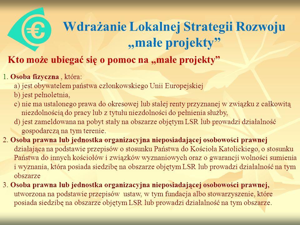 Wdrażanie Lokalnej Strategii Rozwoju małe projekty Kto może ubiegać się o pomoc na małe projekty 1.