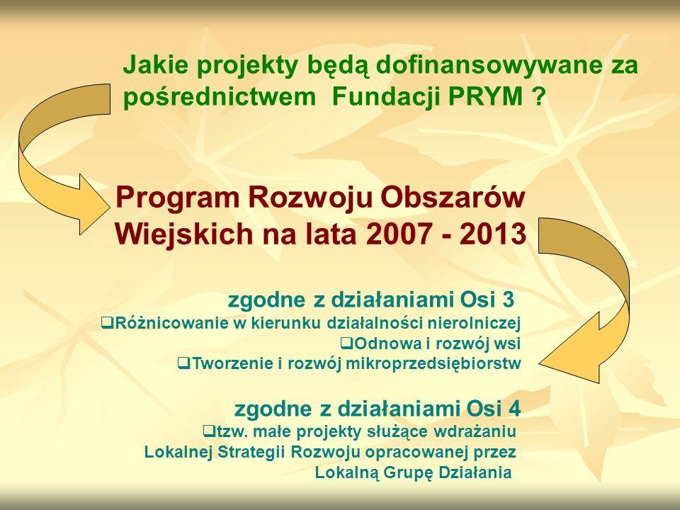 Jakie projekty będą dofinansowywane za pośrednictwem Fundacji PRYM .