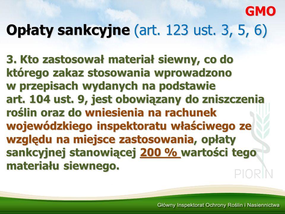 Opłaty sankcyjne (art. 123 ust. 3, 5, 6) 3. Kto zastosował materiał siewny, co do którego zakaz stosowania wprowadzono w przepisach wydanych na podsta