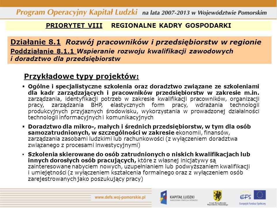 PRIORYTET VIII REGIONALNE KADRY GOSPODARKI Działanie 8.1 Rozwój pracowników i przedsiębiorstw w regionie Poddziałanie 8.1.2 Wsparcie procesów adaptacyjnych i modernizacyjnych w regionie Przykładowe typy projektów: Pomoc w tworzeniu partnerstw lokalnych z udziałem m.in.