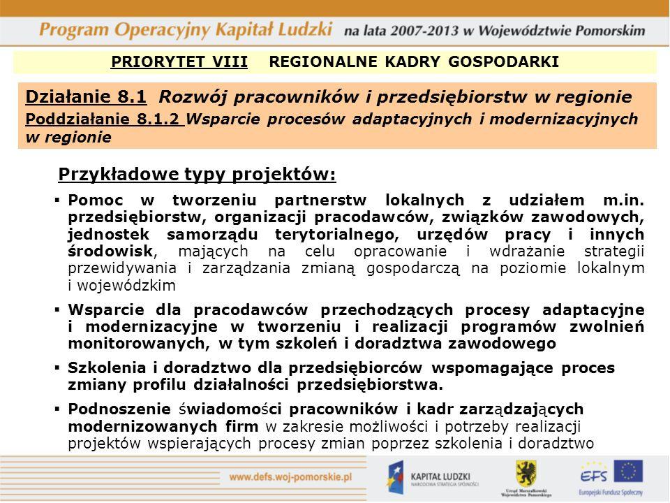 PRIORYTET VIII REGIONALNE KADRY GOSPODARKI Działanie 8.1 Rozwój pracowników i przedsiębiorstw w regionie Poddziałanie 8.1.3 Wzmacnianie lokalnego partnerstwa na rzecz adaptacyjności (projekty konkursowe realizowane przez partnerów społecznych) Przykładowe typy projektów: Tworzenie sieci współpracy (w tym partnerstw) w zakresie wzmacniania dialogu społecznego i inicjatyw podejmowanych wspólnie na poziomie lokalnym i regionalnym przez organizacje pracodawców i przedstawicielstwa pracownicze, mających na celu zwiększanie zdolności adaptacyjnych pracowników i przedsiębiorców, Promowanie społecznej odpowiedzialności przedsiębiorstw, w szczególności w odniesieniu do lokalnego rynku pracy i środowiska naturalnego, Upowszechnianie idei flexicurity.