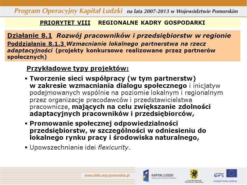 PRIORYTET VIII REGIONALNE KADRY GOSPODARKI Działanie 8.2 Transfer wiedzy Poddziałanie 8.2.1 Wsparcie dla współpracy sfery nauki i przedsiębiorstw Przykładowe typy projektów: Staże i szkolenia praktyczne dla: -Pracowników przedsiębiorstw w jednostkach naukowych -Pracowników naukowych w przedsiębiorstwach