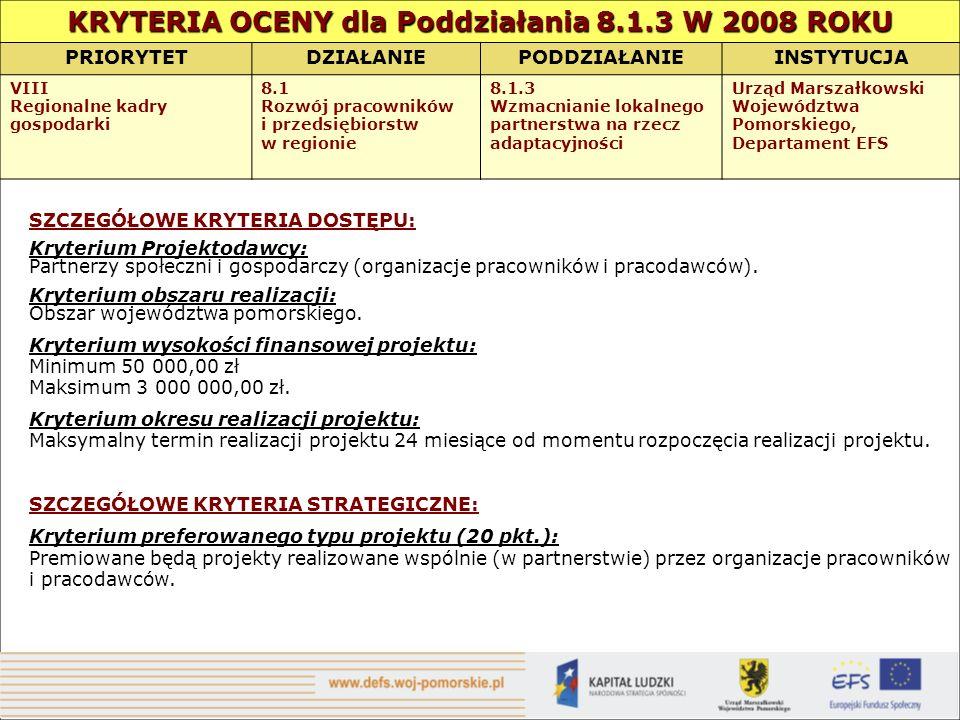 KRYTERIA OCENY dla Poddziałania 8.1.3 W 2008 ROKU PRIORYTETDZIAŁANIEPODDZIAŁANIEINSTYTUCJA VIII Regionalne kadry gospodarki 8.1 Rozwój pracowników i p