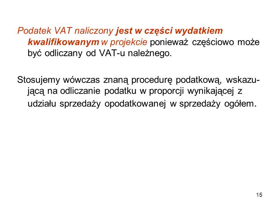 15 Podatek VAT naliczony jest w części wydatkiem kwalifikowanym w projekcie ponieważ częściowo może być odliczany od VAT-u należnego.
