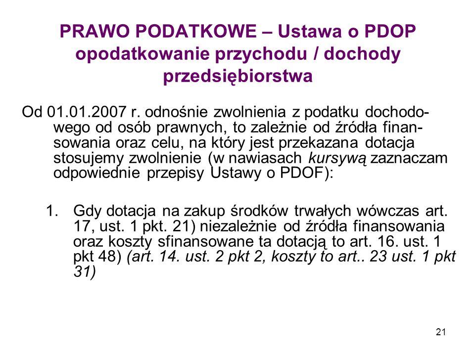 21 PRAWO PODATKOWE – Ustawa o PDOP opodatkowanie przychodu / dochody przedsiębiorstwa Od 01.01.2007 r.