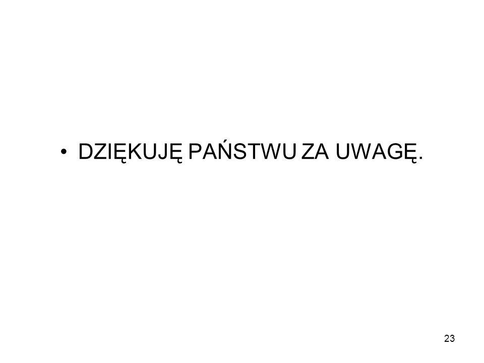 23 DZIĘKUJĘ PAŃSTWU ZA UWAGĘ.