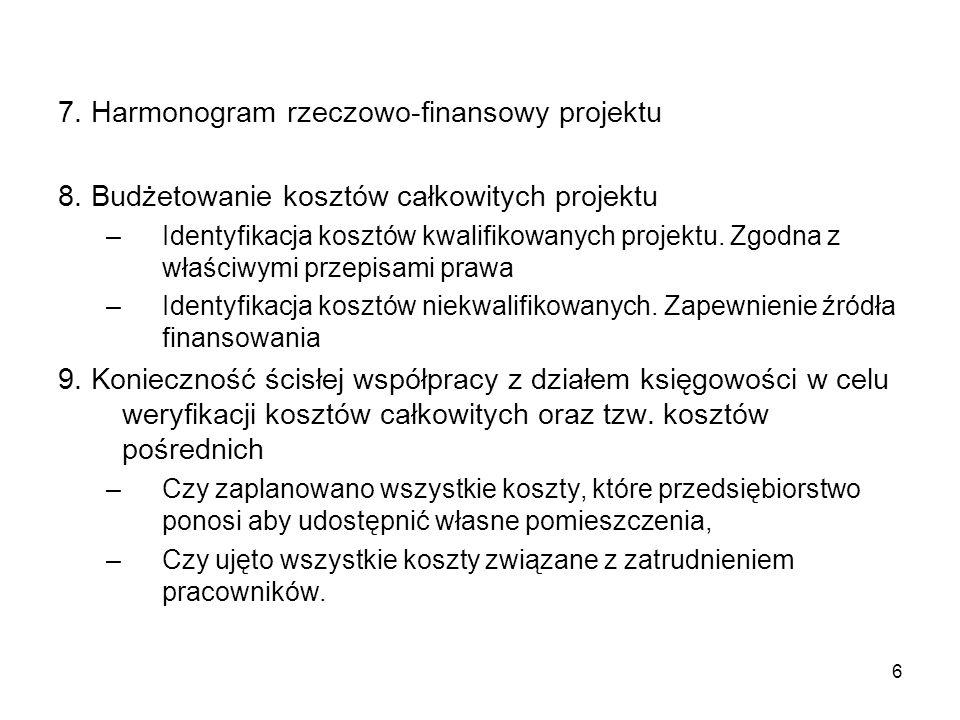 7 10.Ustalenie harmonogramu rzeczowo-finansowego dla zespołu projektowego 11.