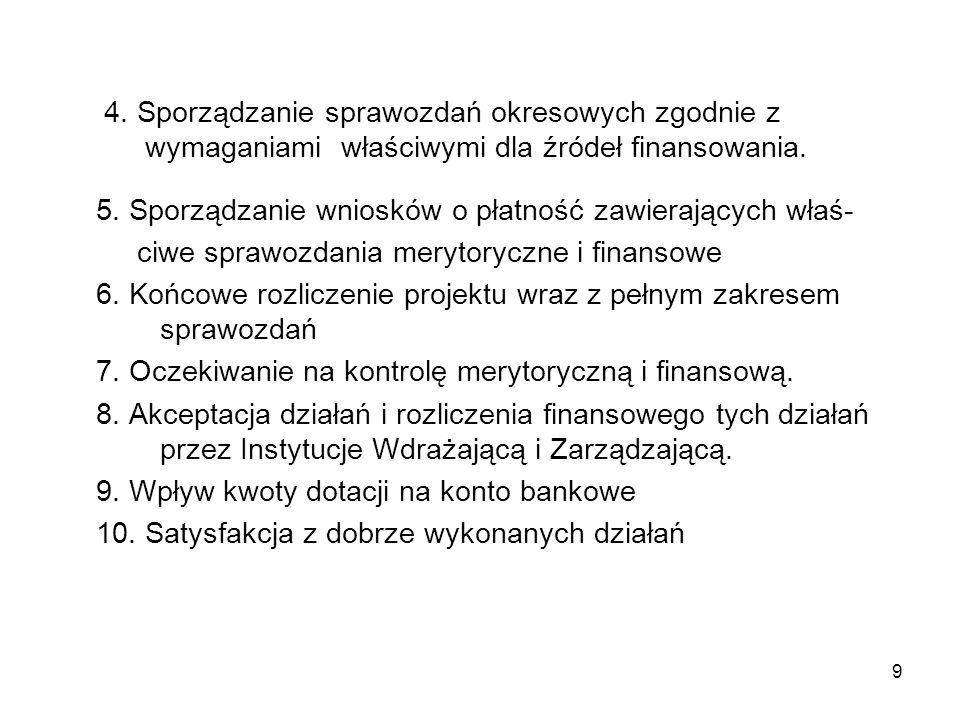 9 4. Sporządzanie sprawozdań okresowych zgodnie z wymaganiami właściwymi dla źródeł finansowania.