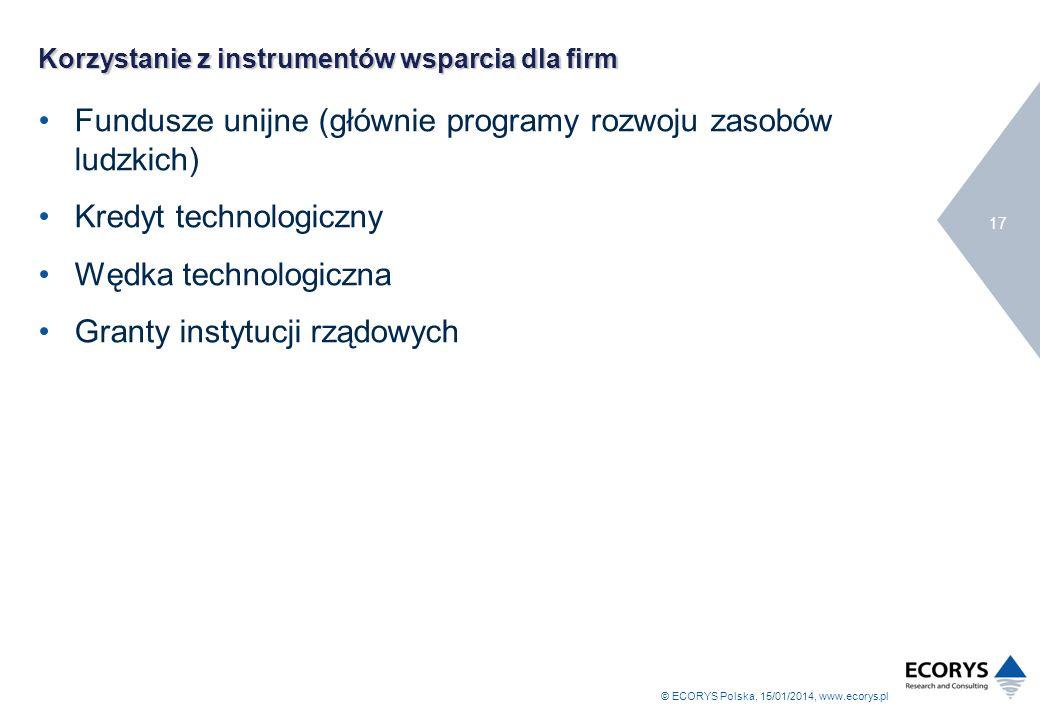 © ECORYS Polska, 15/01/2014, www.ecorys.pl 17 Korzystanie z instrumentów wsparcia dla firm Fundusze unijne (głównie programy rozwoju zasobów ludzkich)