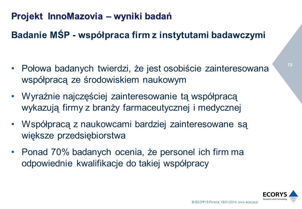 © ECORYS Polska, 15/01/2014, www.ecorys.pl 19 Projekt InnoMazovia – wyniki badań Badanie MŚP - współpraca firm z instytutami badawczymi Połowa badanyc