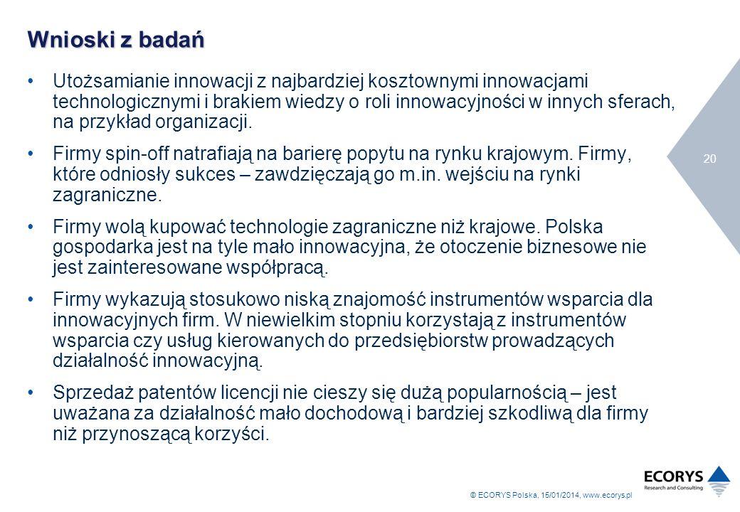 © ECORYS Polska, 15/01/2014, www.ecorys.pl 20 Wnioski z badań Utożsamianie innowacji z najbardziej kosztownymi innowacjami technologicznymi i brakiem