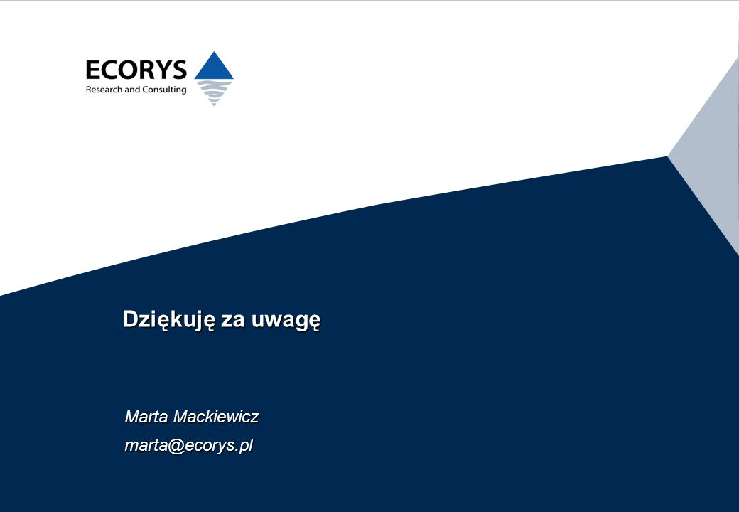 Dziękuję za uwagę Marta Mackiewicz marta@ecorys.pl