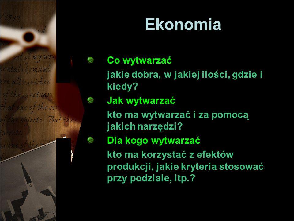 Ekonomia Co wytwarzać jakie dobra, w jakiej ilości, gdzie i kiedy.
