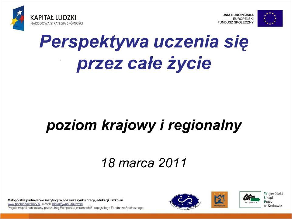 Perspektywa uczenia się przez całe życie poziom krajowy i regionalny 18 marca 2011
