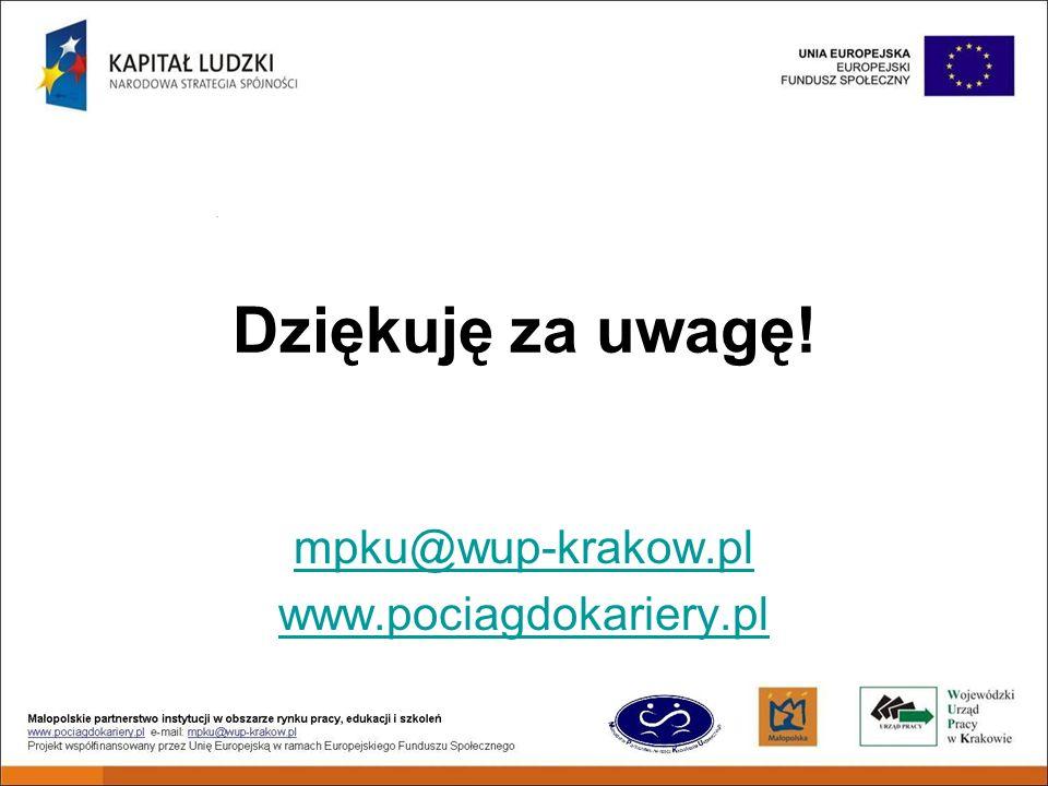 Dziękuję za uwagę! mpku@wup-krakow.pl www.pociagdokariery.pl