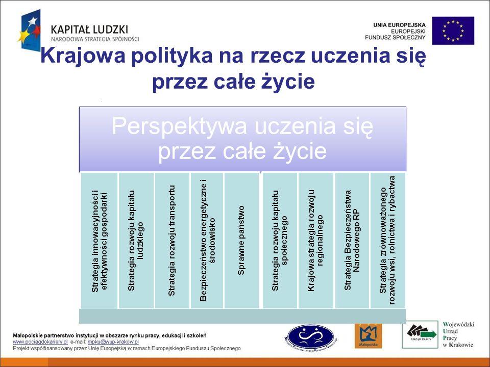 Krajowa polityka na rzecz uczenia się przez całe życie Perspektywa uczenia się przez całe życie Strategia innowacyjności i efektywności gospodarki Strategia rozwoju kapitału ludzkiego Strategia rozwoju transportu Bezpieczeństwo energetyczne i środowisko Sprawne państwo Strategia rozwoju kapitału społecznego Krajowa strategia rozwoju regionalnego Strategia Bezpieczeństwa Narodowego RP Strategia zrównoważonego rozwoju wsi, rolnictwa i rybactwa