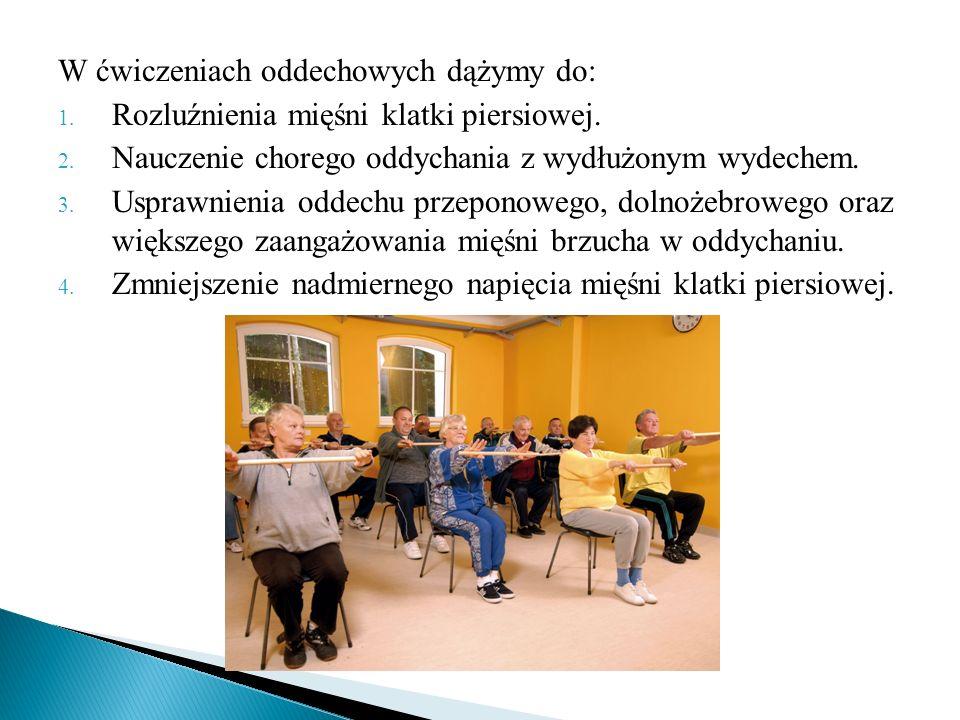 W ćwiczeniach oddechowych dążymy do: 1. Rozluźnienia mięśni klatki piersiowej. 2. Nauczenie chorego oddychania z wydłużonym wydechem. 3. Usprawnienia