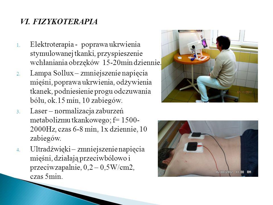 VI. FIZYKOTERAPIA 1. Elektroterapia - poprawa ukrwienia stymulowanej tkanki, przyspieszenie wchłaniania obrzęków 15-20min dziennie. 2. Lampa Sollux –