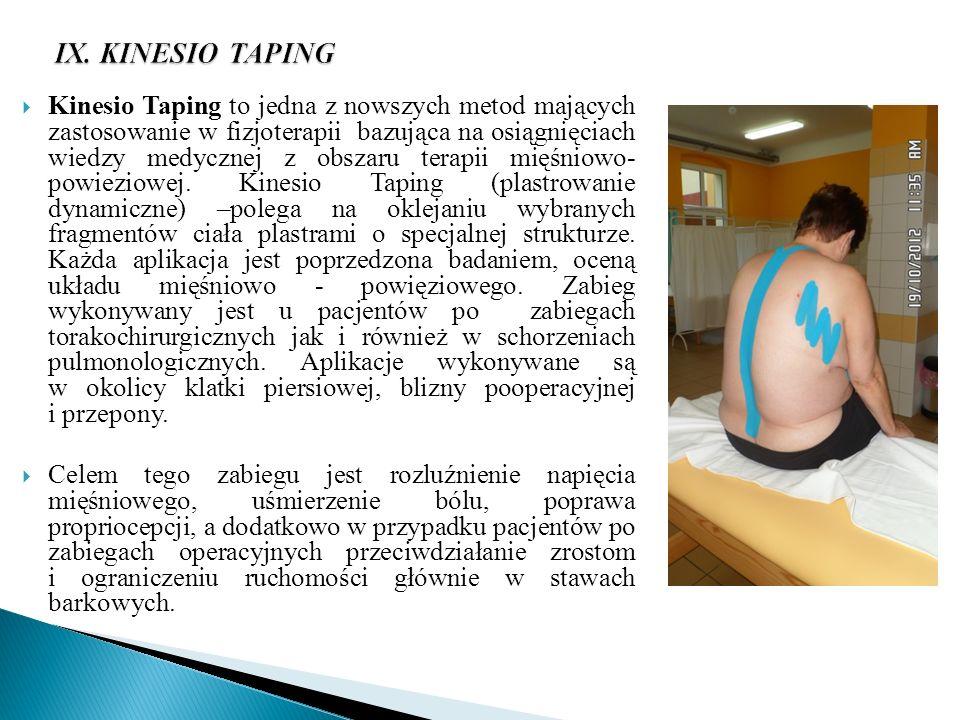 IX. KINESIO TAPING Kinesio Taping to jedna z nowszych metod mających zastosowanie w fizjoterapii bazująca na osiągnięciach wiedzy medycznej z obszaru