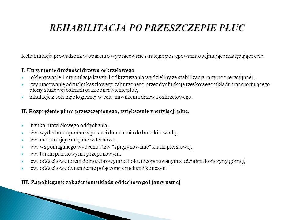 Rehabilitacja prowadzona w oparciu o wypracowane strategie postępowania obejmujące następujące cele: I. Utrzymanie drożności drzewa oskrzelowego oklep