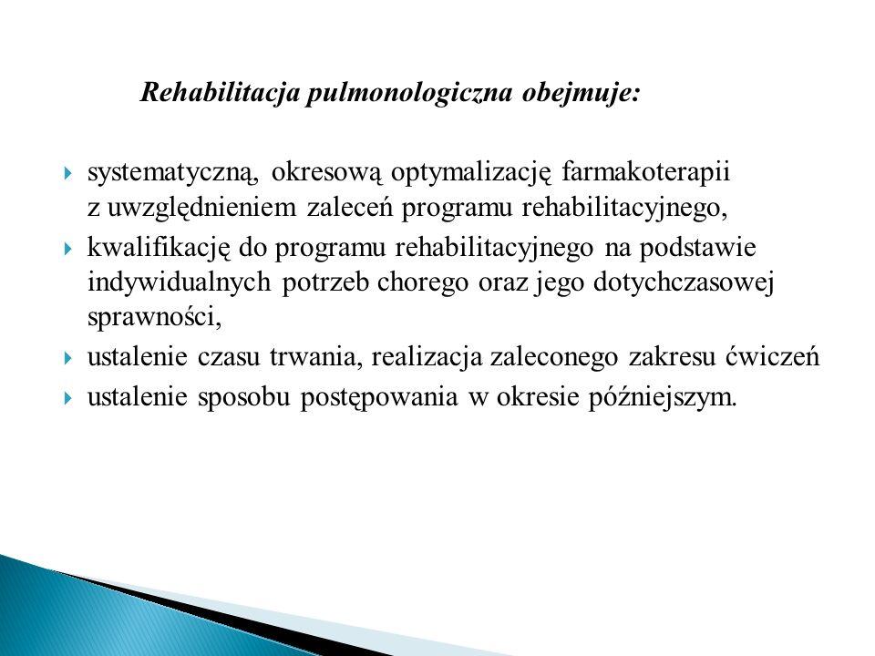Rehabilitacja pulmonologiczna obejmuje: systematyczną, okresową optymalizację farmakoterapii z uwzględnieniem zaleceń programu rehabilitacyjnego, kwal