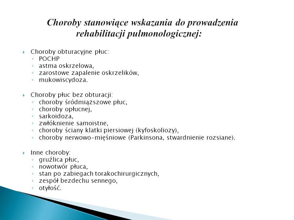 Choroby obturacyjne płuc: POCHP astma oskrzelowa, zarostowe zapalenie oskrzelików, mukowiscydoza. Choroby płuc bez obturacji: choroby śródmiąższowe pł
